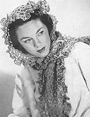 40s Lovers Knot Shawl HeadCover Vintage Crochet Pattern