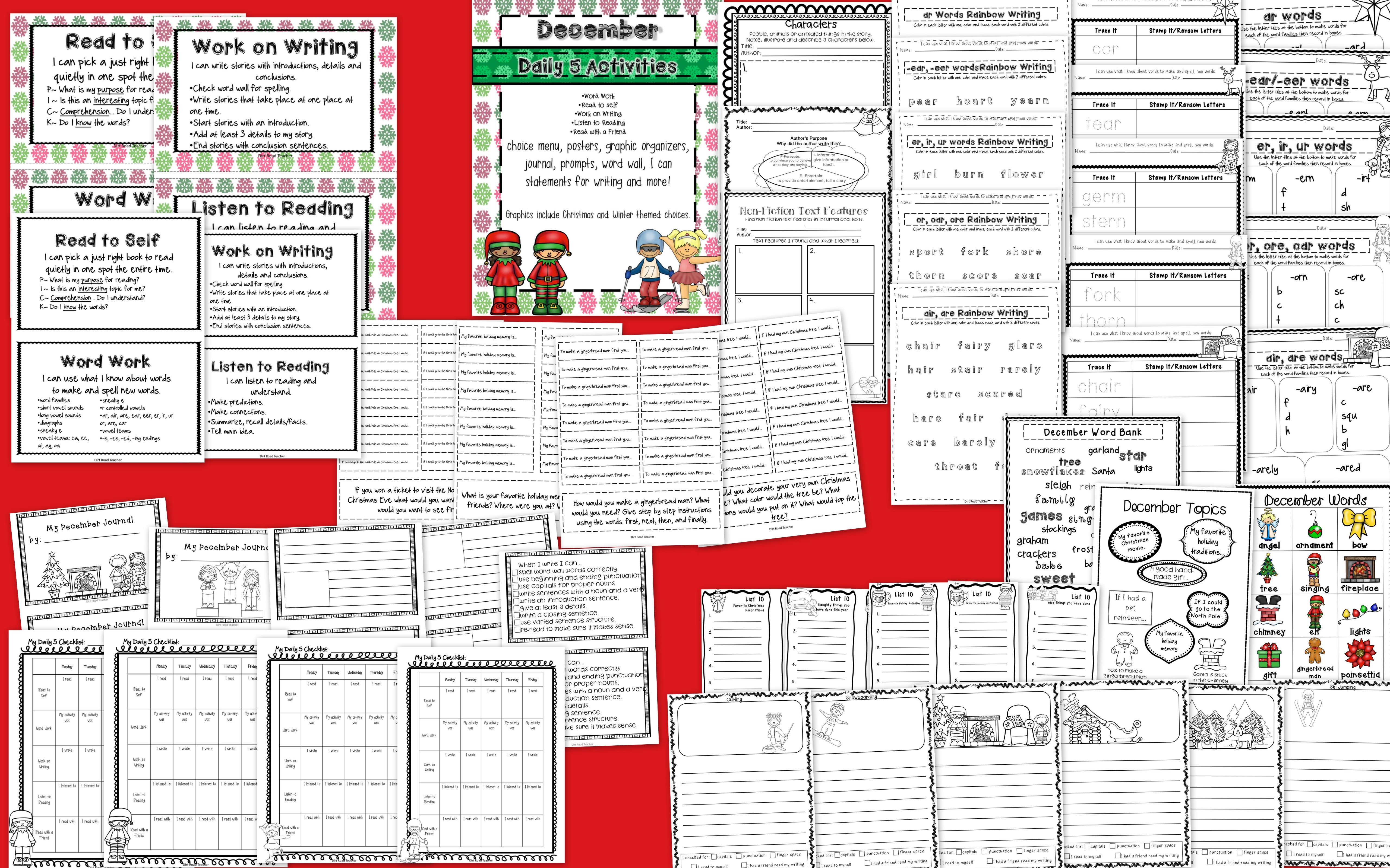 Reading Writing Word Work Station Activities For