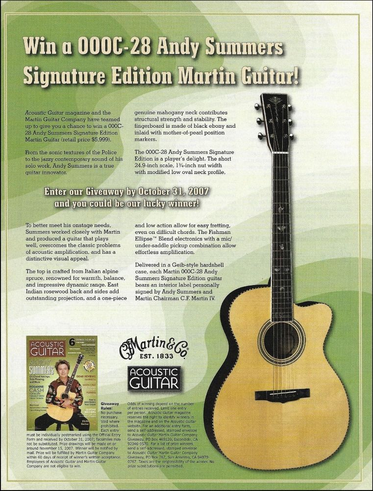 The Police Andy Summers Signature Martin 000C-28 guitar giveaway 8 x