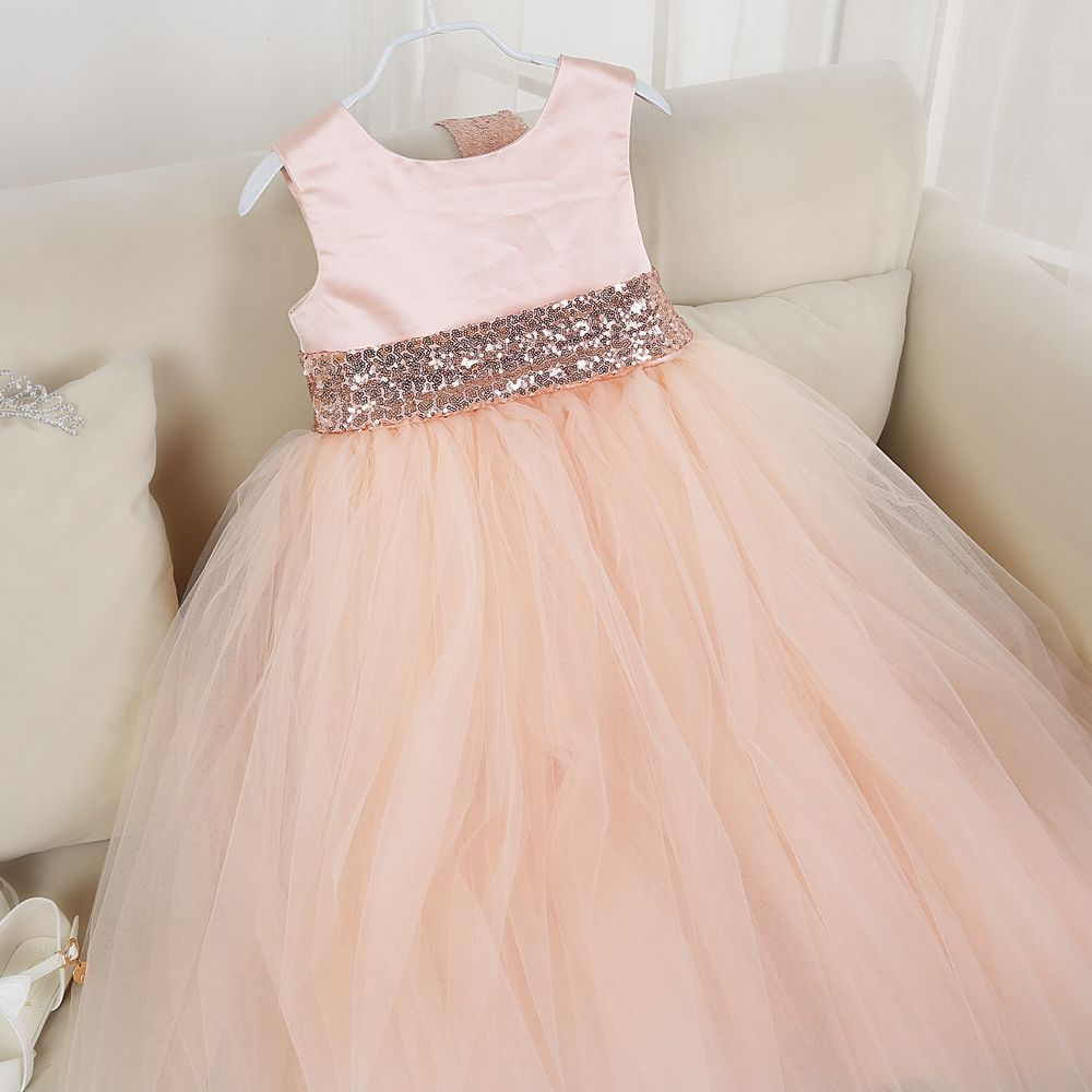 Click to buy ucuc color girl party dresses with sequins belt vintage