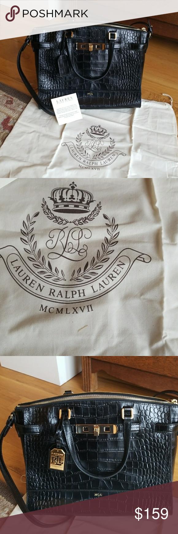 56275cdad000 ... order gorgeous ralph lauren darwin croc satchel beautiful never used  black leather croc embossed bag by