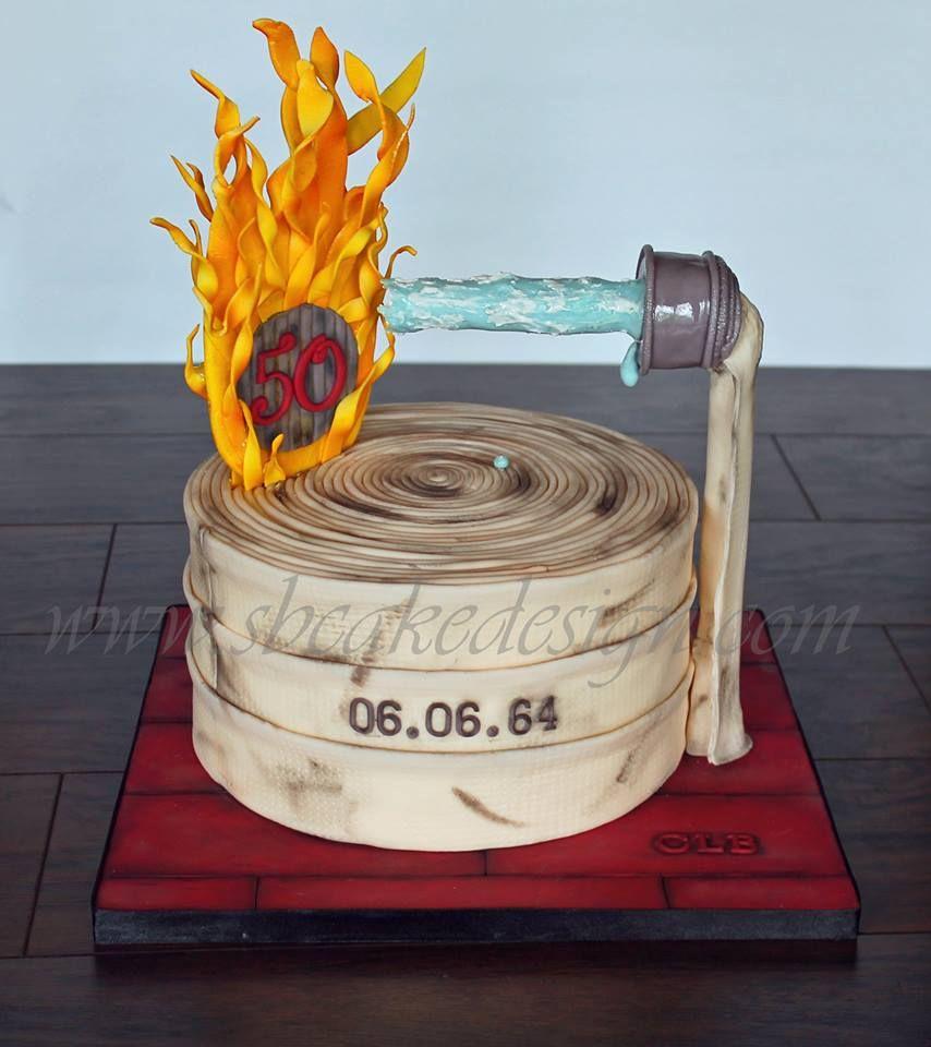Fire Hose & Flames Birthday Cake