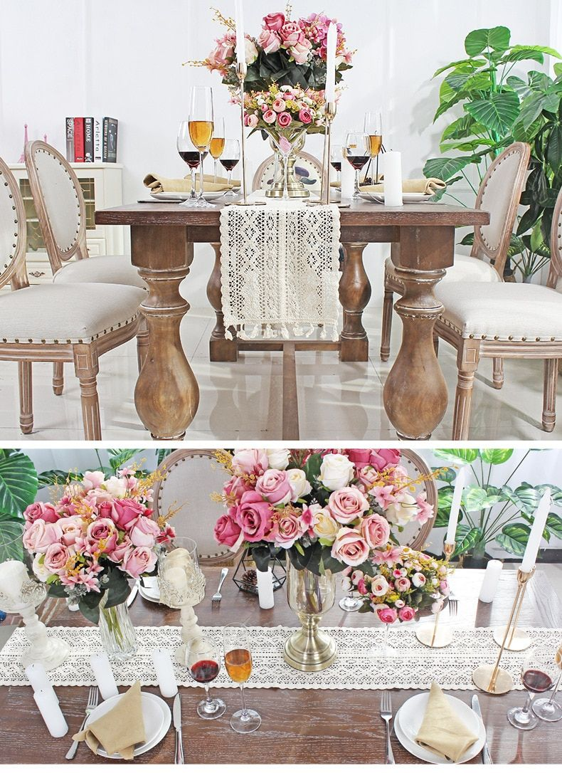 Vintage Retro Favors Event Party Supplies Decoration Table Cloth Wedding Knitted In 2020 Lace Table Runners Cotton Wedding Decor Wedding Tablecloths