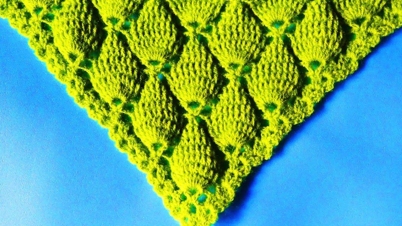 chal triangular tejido a crochet paso a paso: punto hojas en relieve ...