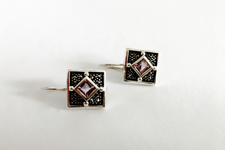 Sterling Silver Marcasite Geometric Earrings