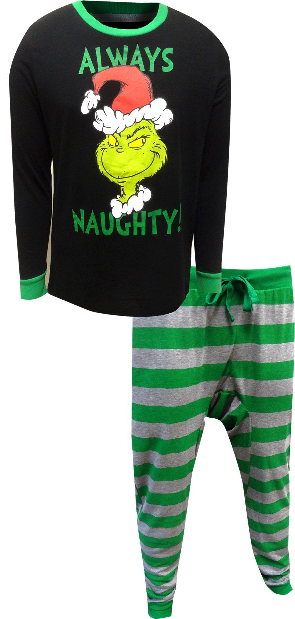 Dr. Seuss The Grinch Always Naughty Guys Pajamas Pajamas