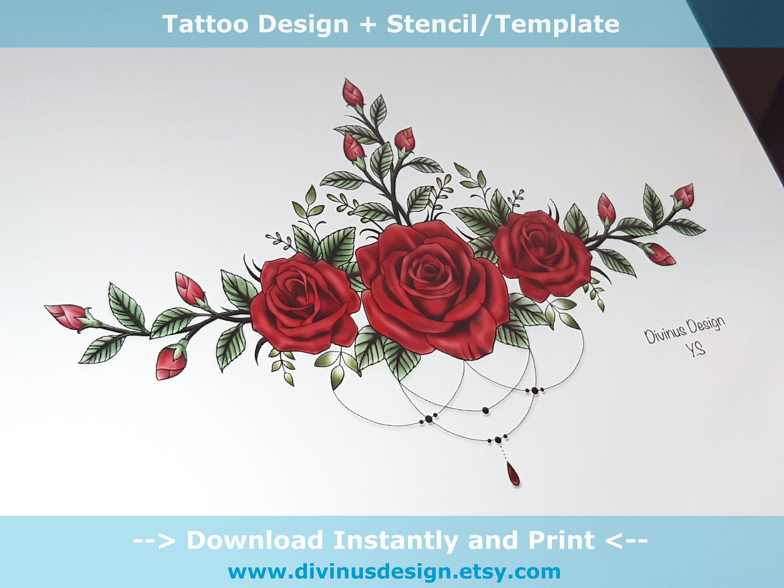 Red Roses Sternum Tattoo Design And Stencil Template Instant Etsy Sternum Tattoo Design Red Rose Tattoo Lower Back Tattoos