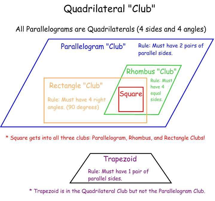 Quadrilateral Club Quadrilaterals In Geometry Pinterest Math