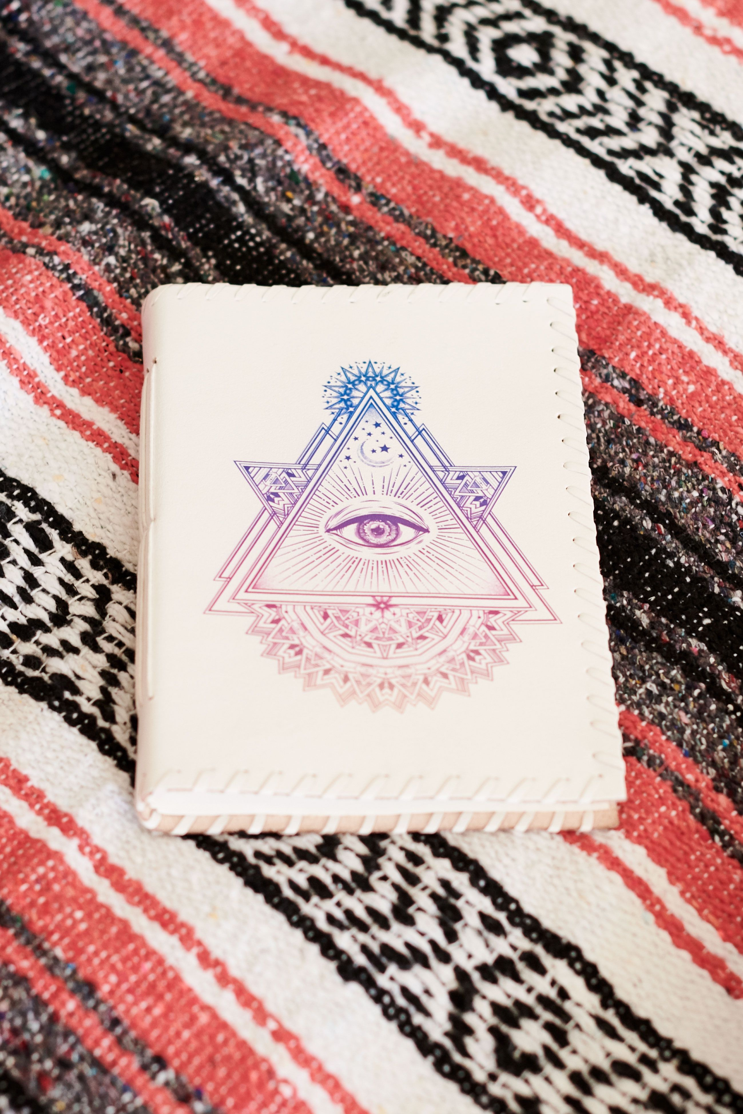 White Leather Pyramid Eye Leather Journal