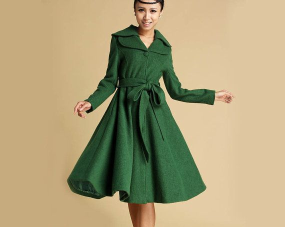 winter wool coat Green jacket midi dress coat 336T by xiaolizi ...