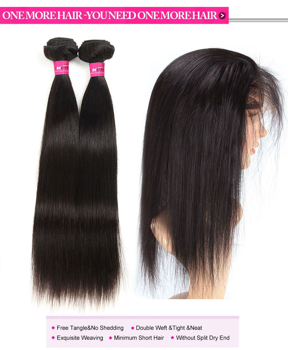 Indian Hair Straight Weave 360 Frontal With 2 Bundles Lace Frontal