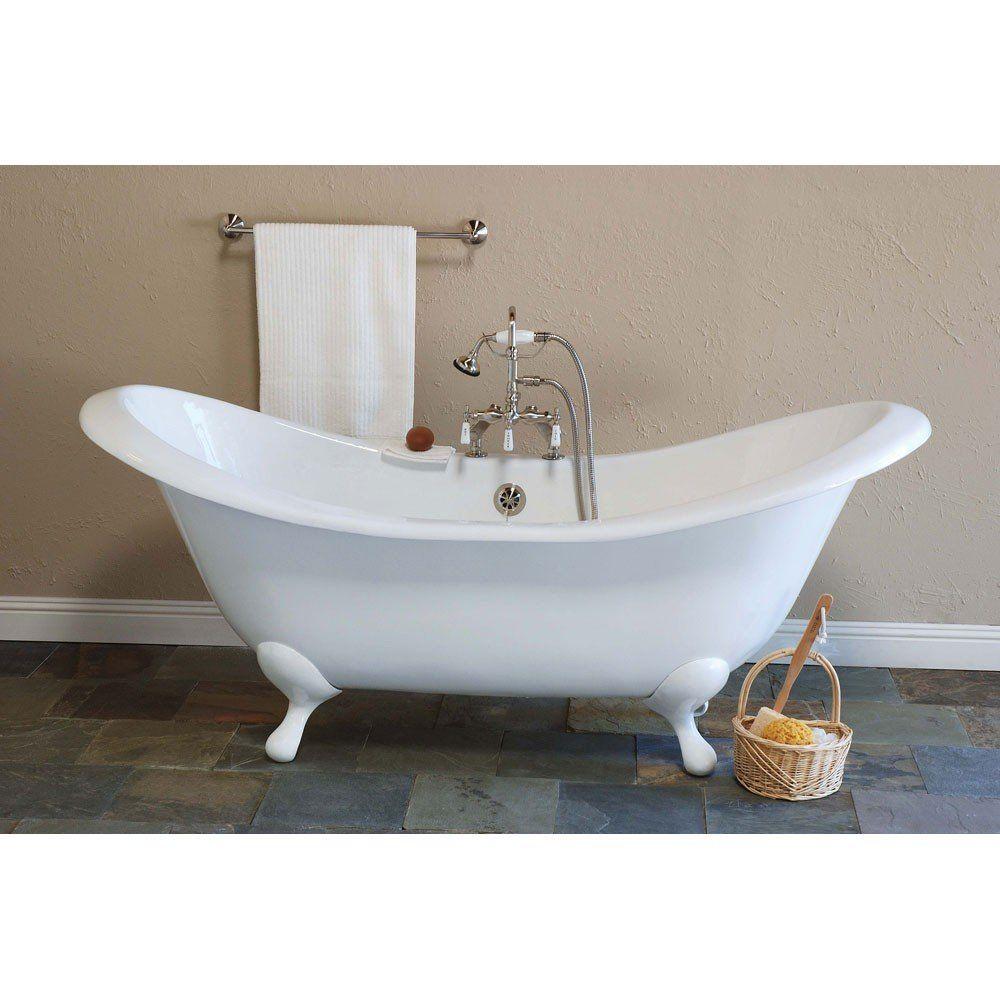 Strom plumbing moon inch double slipper clawfoot tub inch rim