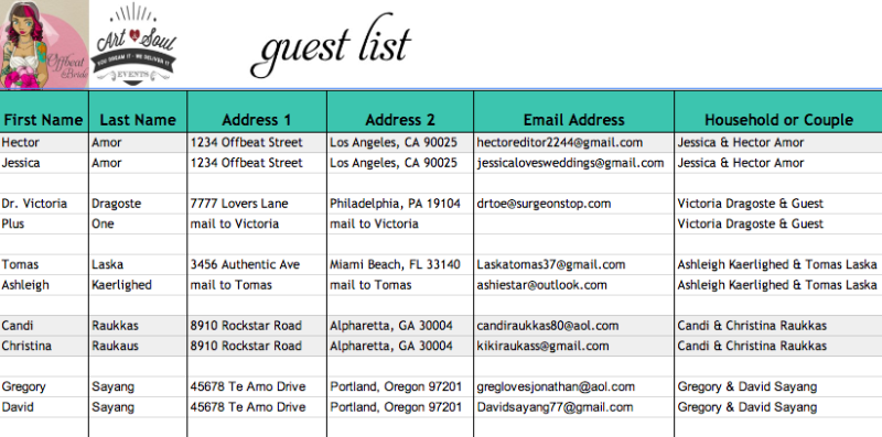 How To Attack A Guest List Like A Ninja  Guest List Wedding