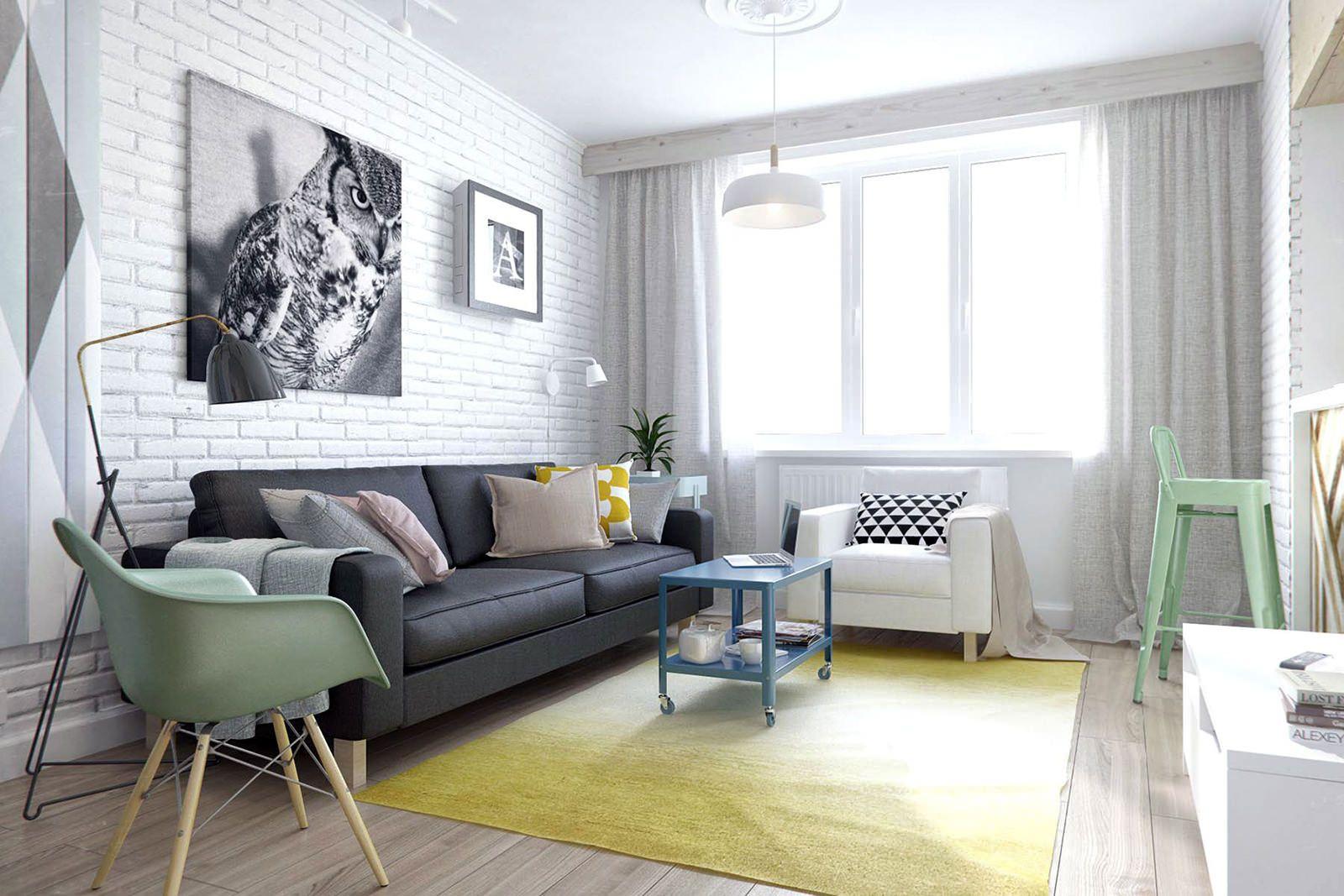 Белый кирпич в интерьере: особенности, фото | Гостиные лофт, Интерьер, Белая гостиная
