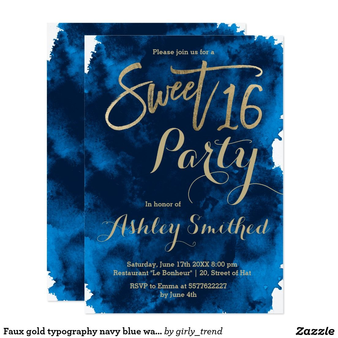 faux gold typography navy blue watercolor sweet 16 card sweet