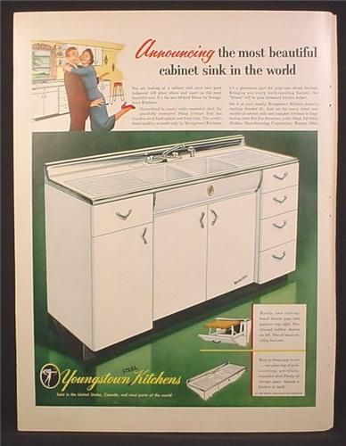 Magazine Ad For Youngstown Kitchens Steel Diana Cabinet Sink White Metal Kitchen Cabinets Retro Kitchen Tables Kitchen Design Countertops