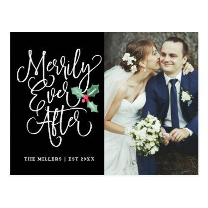 Merrily Ever After Holiday Photo Thank You Postcard Wedding and