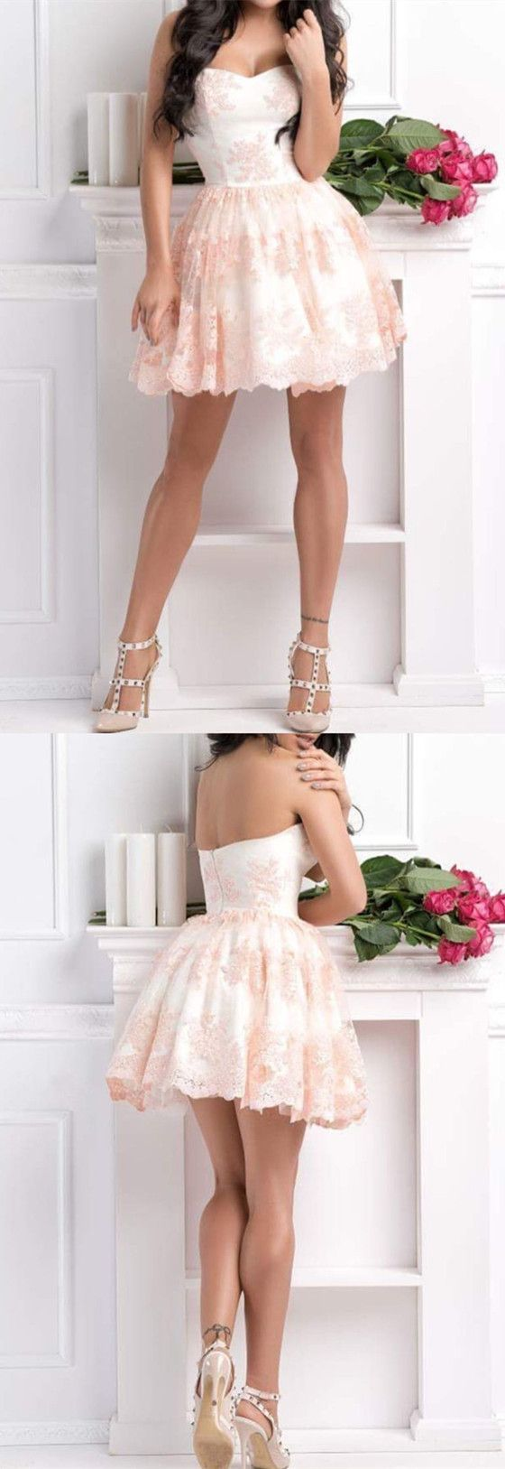 A line sleeveless homecoming dresses short lace appliques prom