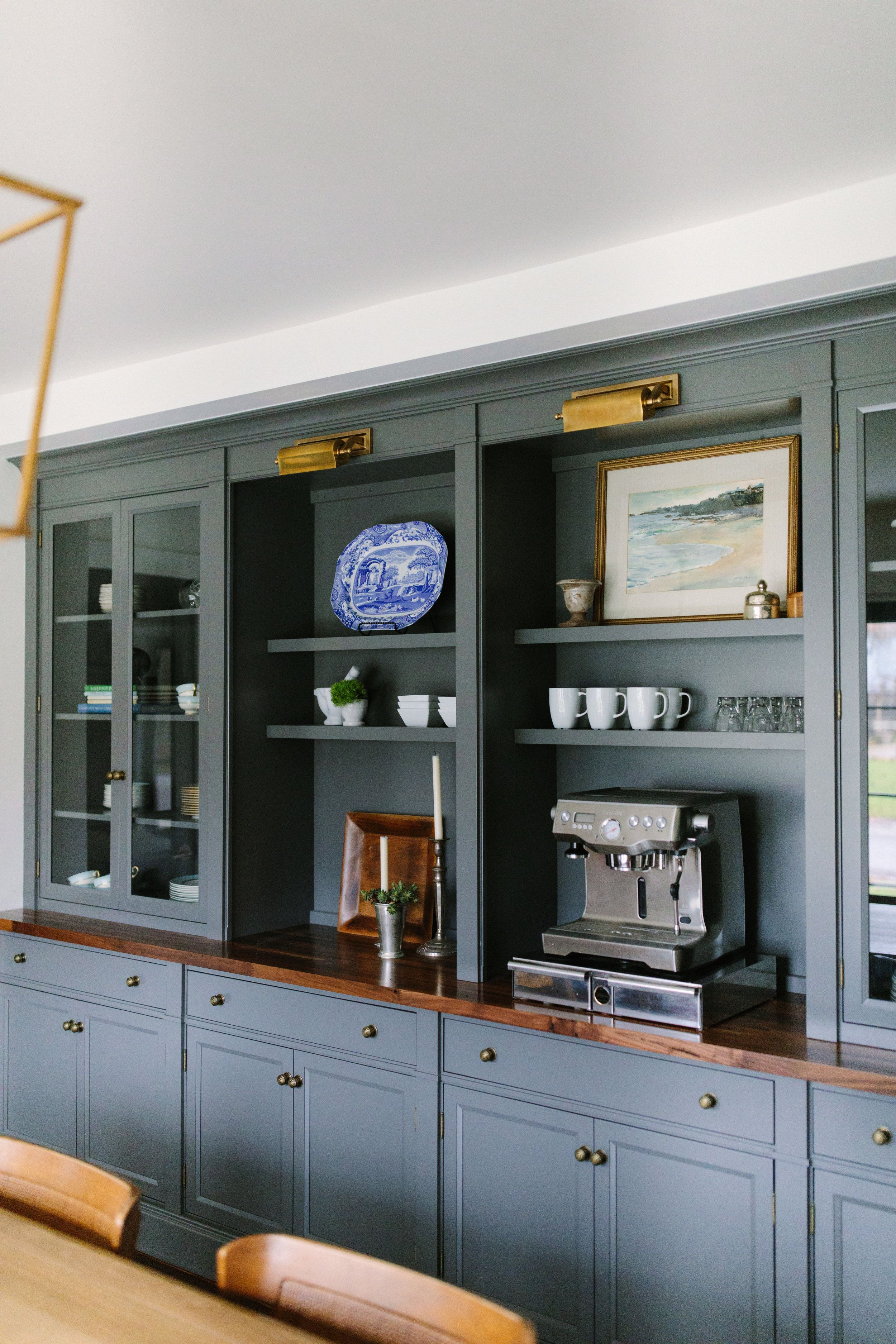 Slate Gray Bookcase With A Built In Coffee Station Brass
