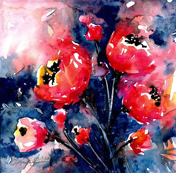 """Red Flower Painting, Abstract Poppy Watercolor, Art,  """"Floral 21"""" Original floral poppies painting by Kathy Morton Stanion EBSQ"""