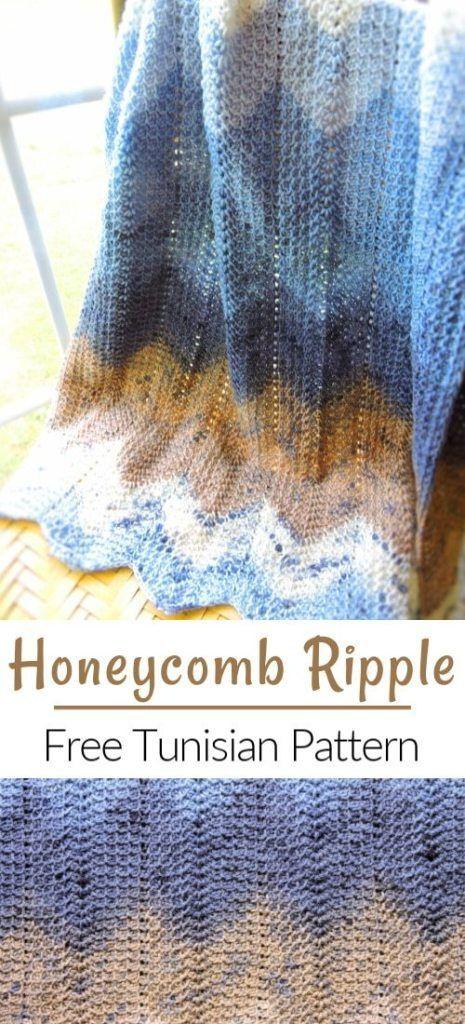 Modern Honeycomb Ripple Baby Blanket Free Tunisian Crochet Pattern - CrochetKim™ #tunisiancrochet