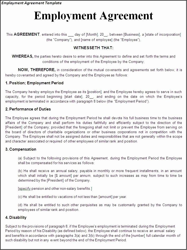 Employment Contract Template Free Download Elegant Printable Sample Employment Contract Sample Form Work Agreement Contract Template Daycare Contract