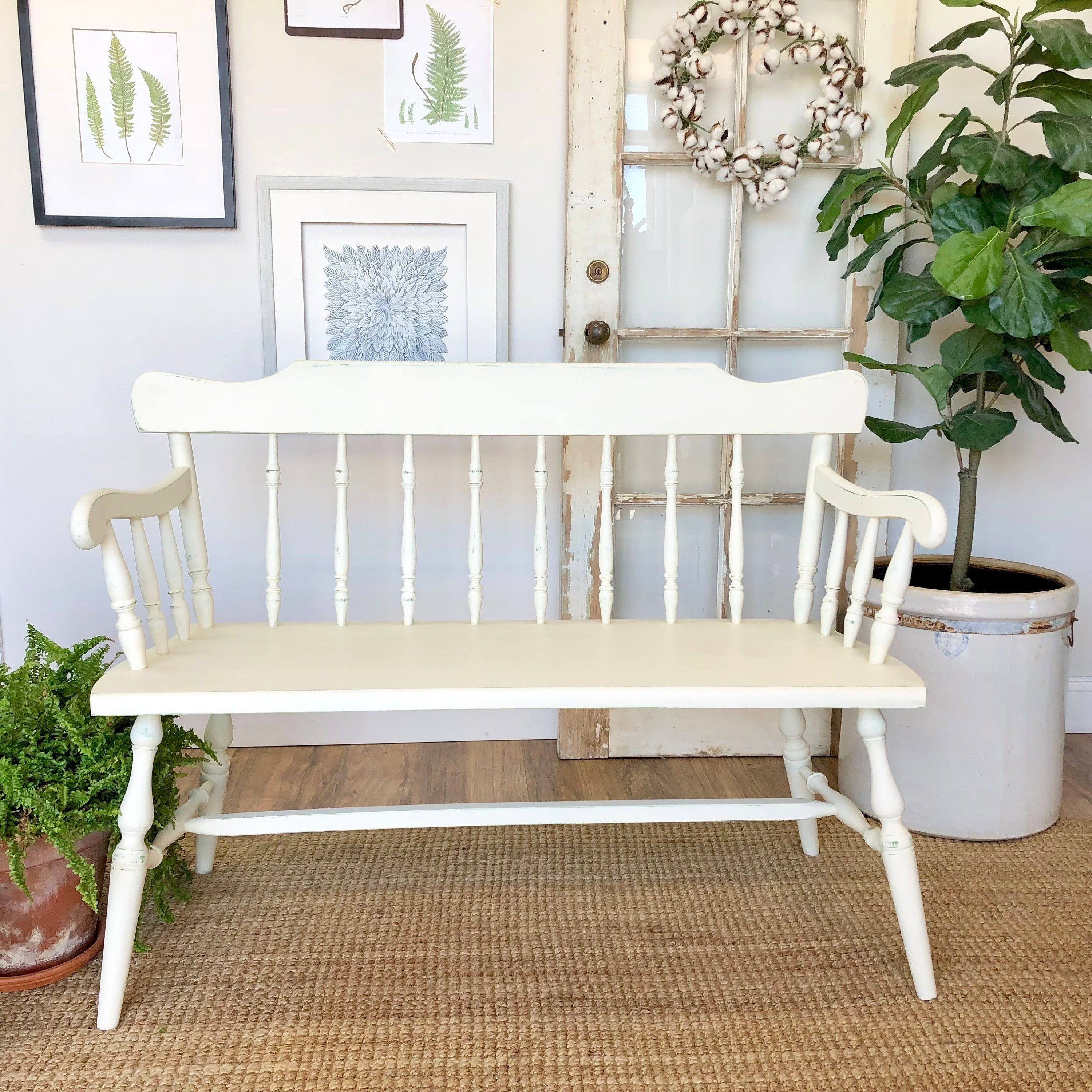 Small White Wooden Bench with Spindle Back Farmhouse