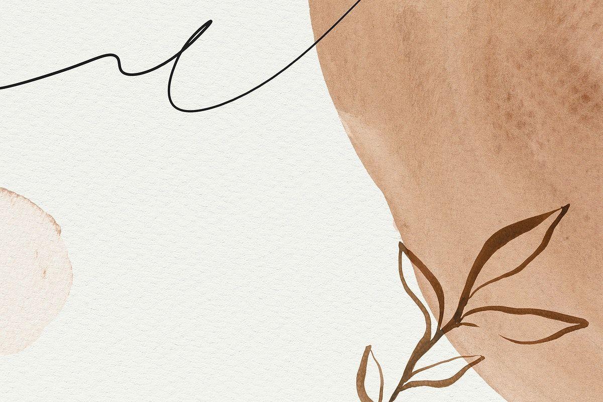 Brown botanical Memphis watercolor background | premium ...