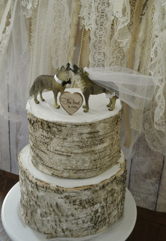 Wolf Wedding Cake Topper Howling Native American Themed Bride And Groom Gray University Of Nevada Animal Toppers Pack