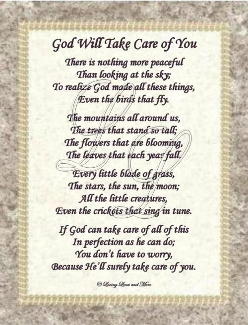 God Will Take Care Of You 3 For You Pam I Love You Things I