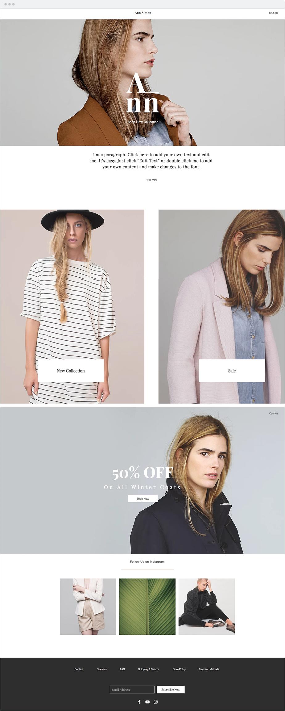 Fashion Designer Boutique Website Template Ecommerce Template Simple Website Design Wix Templates