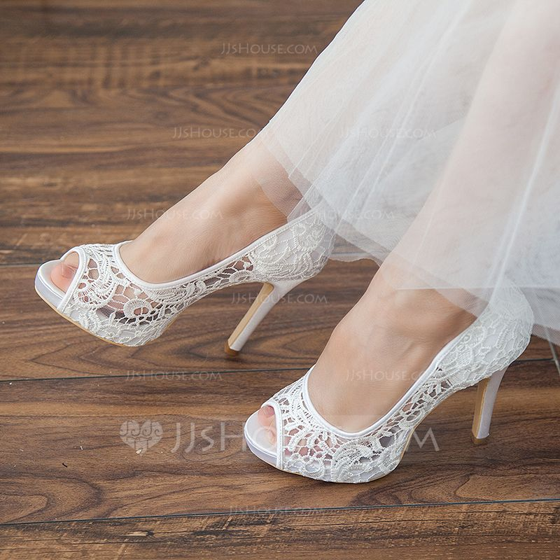 [US$ 41.00] Women's Lace Stiletto Heel Peep Toe Platform
