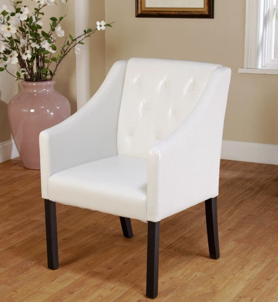 Details About Tufted White Faux Leather Guest Chair Modern Living Room Furniture New