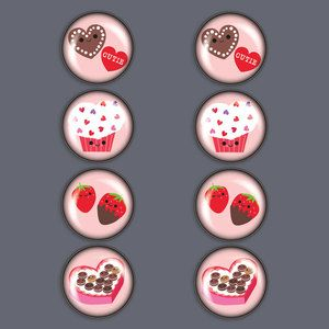 V-Day Treats Magnet Set Of 8, $17.50, now featured on Fab.