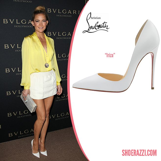 hot sale online b9057 ba109 Kate Hudson in Christian Louboutin Spring 2014 White Leather ...