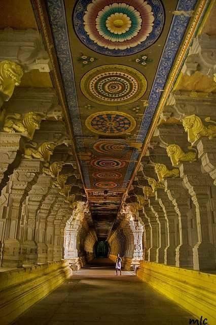 Corridor with one thousand pillars...Ramanathanswamy Temple.. .Tamilnadu...India.