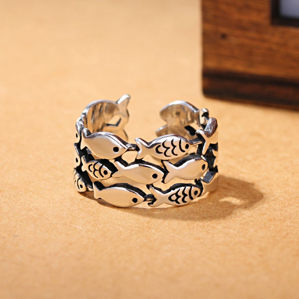 Creative Lovely Fish Silver Plated Opening Finger Ring Women\\'s Jewelry Gift Specifications: Three layers small fishes design, lovely and stylish. Made of silver plated copper material with fine workmanship. This is a good gift for friends who like fish pattern. Open ring design, convenient and comfortable to wear. Type: Ring Gender: Women's Style: Fashion Material: Copper, Silver Plated Occasions: Club, Party, Shopping, Prom, Dating, Daily Life, etc Features: Opening Ring, Fish, Lovely, Creati