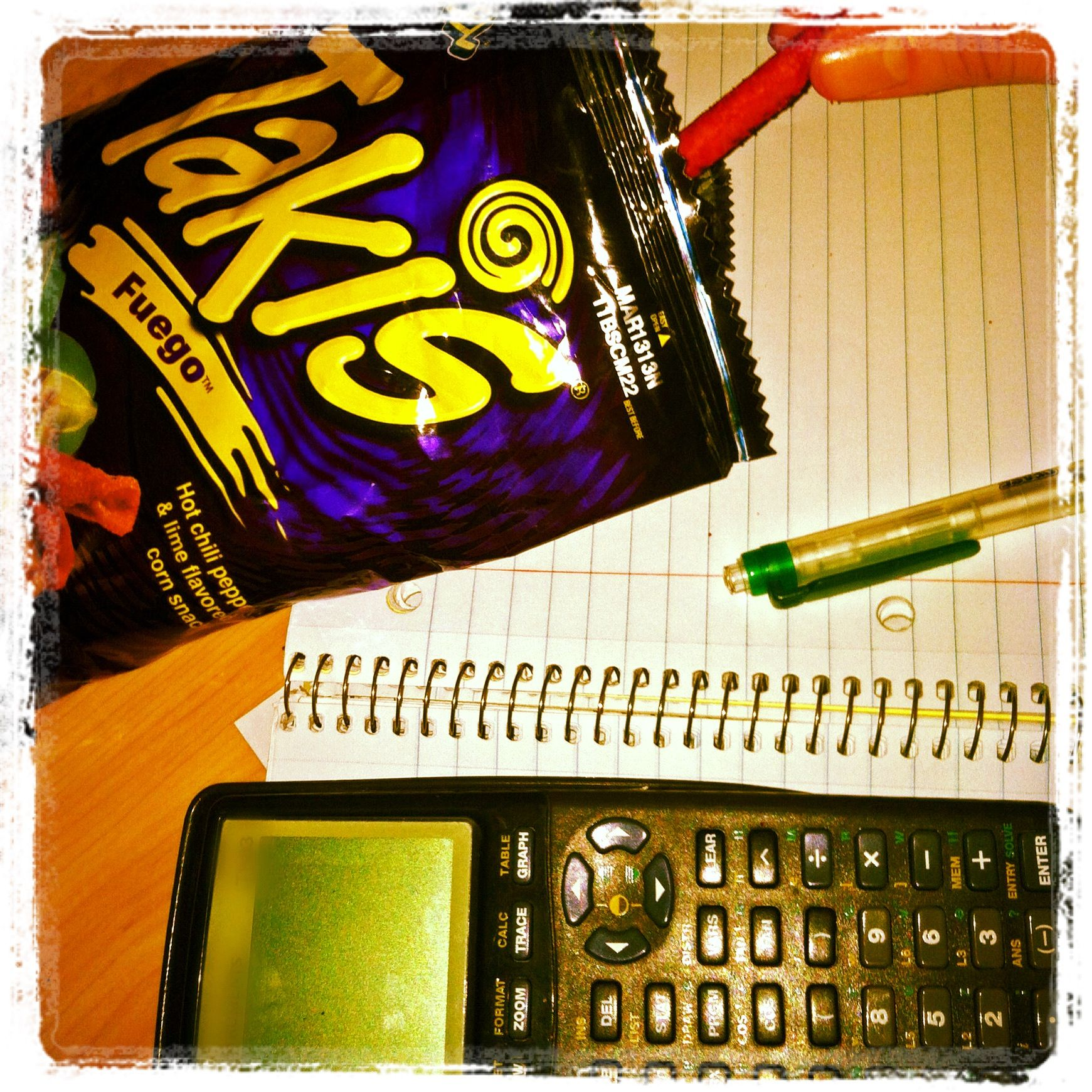 Crunching takis and algebra snacks electronic