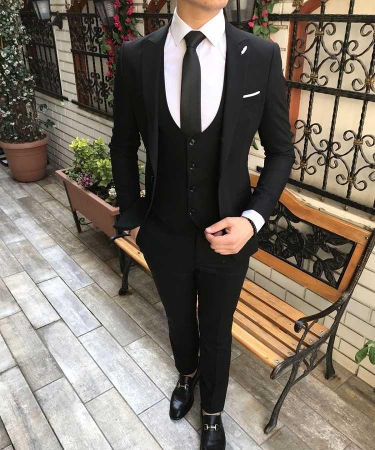 642438884010f İtalyan stil slim fit erkek ceket yelek pantolon takım elbise siyah T2603