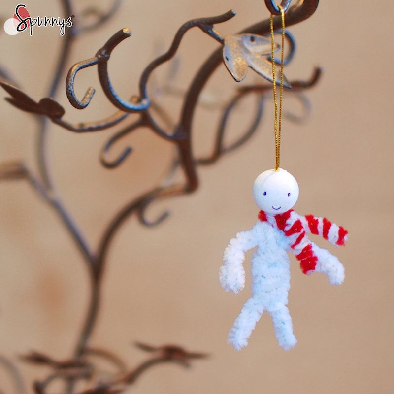 Christmas Craft Project Ideas Part - 30: Snowman And Candy Cane Christmas Ornament. A Cute Craft Idea For The  Holidays. Materials: Pipe Cleaners And Spun Cotton Balls.