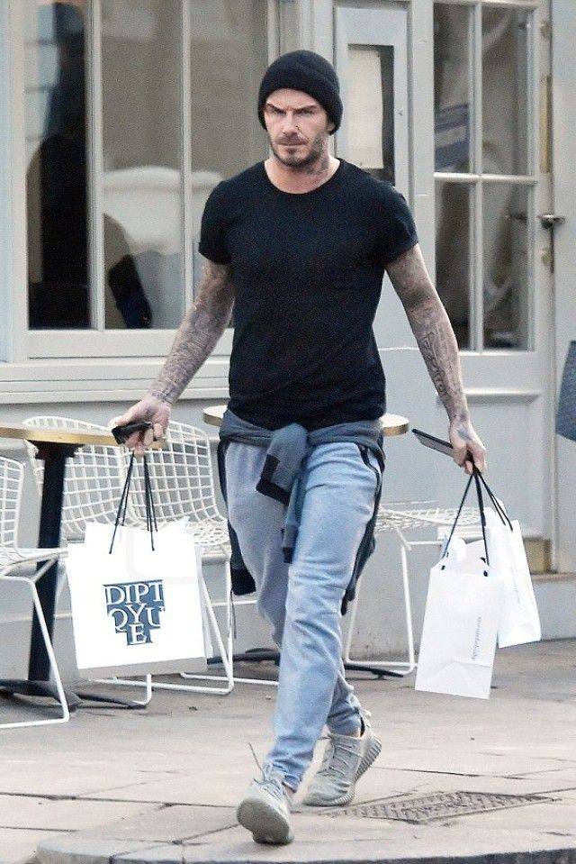 online retailer 2f22d 5523e David Beckham wearing Adidas Men s Yeezy Boost 350 Moonrock, Adidas Sport  Luxe Fleece Pants, H