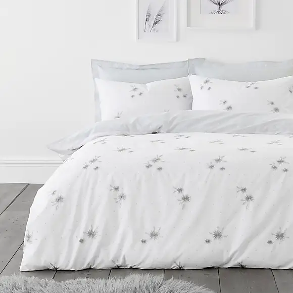 Emily White And Grey Embroidered Duvet Cover And Pillowcase Set Embroidered Duvet Cover Duvet Covers Contemporary Duvet Covers