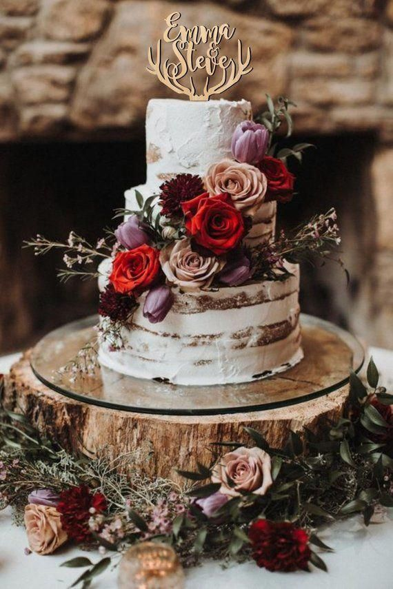 Cake topper for wedding deer antlers cake topper names cake | Etsy