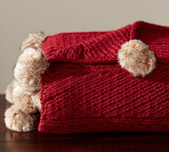 Faux Fur Pom Pom Knitted Throw 50x60 Quot Cardinal Knitted