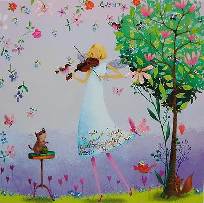 Mila-marques-tarjeta-postal-14x14-brillo-duendecillo-hada-juega-violin-Tarjeta-de-felicitacion-gato