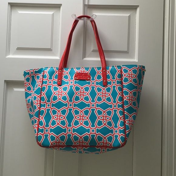 Kate spade Moroccan market Michelle tote turquoise Kate spade New York. Moraccan market Michelle tote in turquoise and flame. Lightly used in very good condition. Outside is free of tears, stains. Inside had a few minor small smudges. Tote can be styled 2 ways as pictures. The smaller profile is achieved by linking the clasps. Inside zippered pocket and compartments for phone, etc. Original retail $349 kate spade Bags Totes