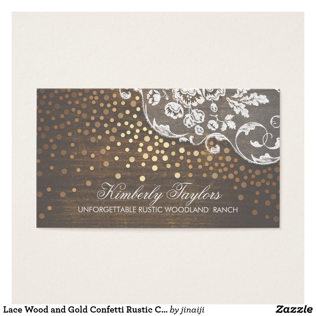 Lace Wood and Gold Confetti Rustic Country Business Card   Gold ...