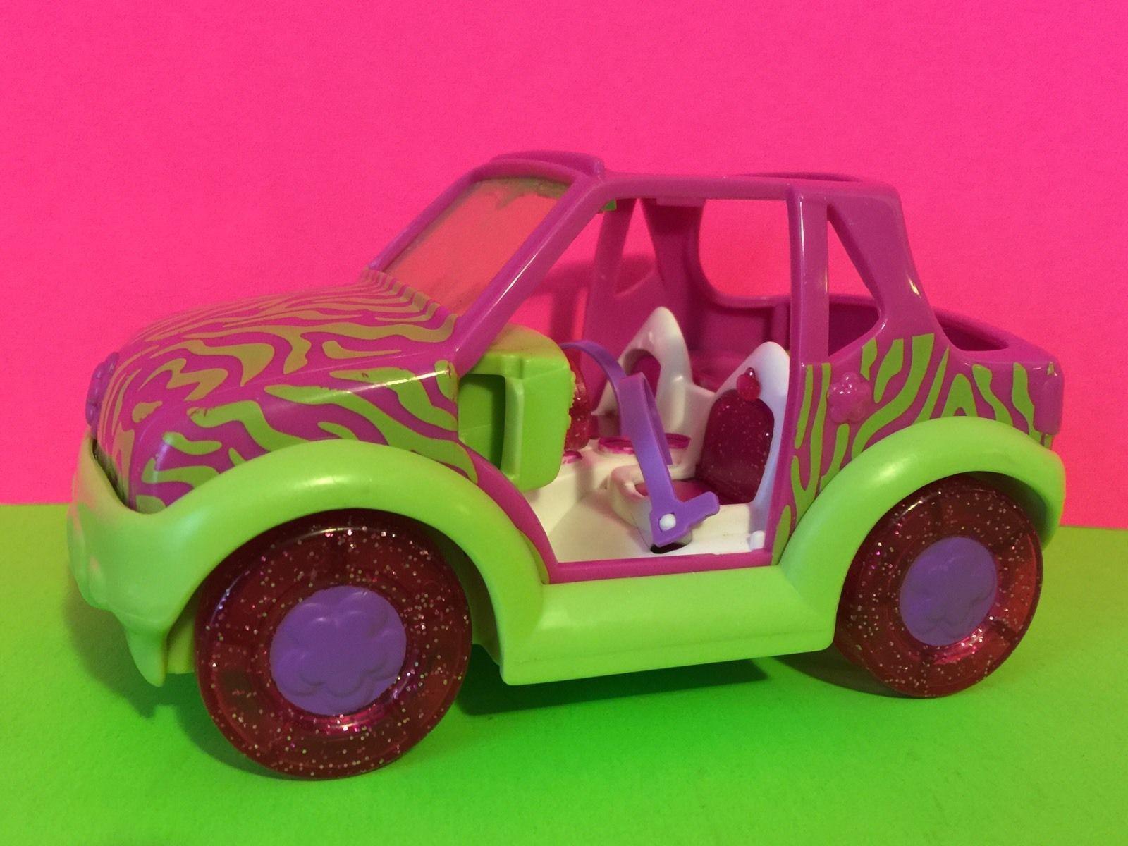Polly Pocket Pink Lime Green Zebra Striped Jeep eBay