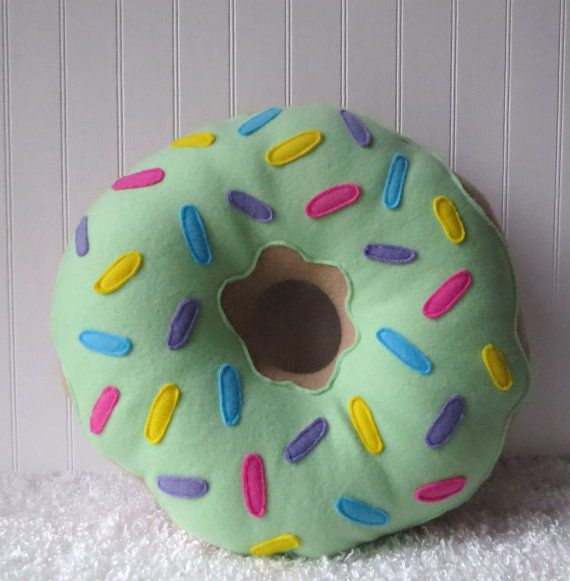 16 Mint Frosted Doughnut Pillow por WildRabbitsBurrow en Etsy