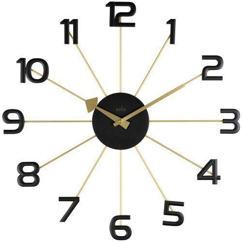 Astraea 49cm Gold Black Spoke Wall Clock Acctim Clock Wall Clock